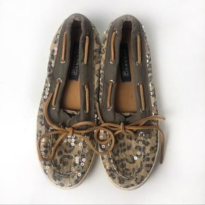 Sperry bahama skimmer leopard shoes size 6